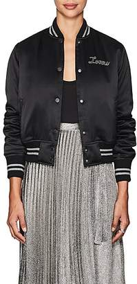 "Amiri Women's ""Lovers"" Silk Satin Baseball Jacket - Black"