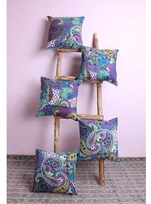 Jaipur Textile Hub 5 PCS Paisely Design Violet D?cor Cushion Cover Throw Pillow Case(JTH-NCA-57)