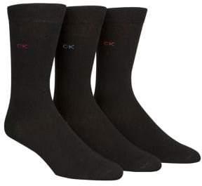Calvin Klein Men's Three-Pack Flat Knit Crew Socks