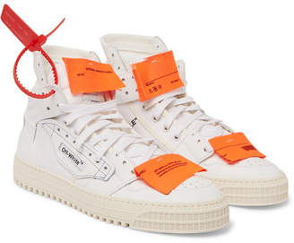 Off-White Off White Low 3.0 Leather and Canvas High-Top Sneakers - White