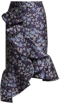 Johanna Ortiz Belladonna Floral Jacquard Skirt - Womens - Blue Multi