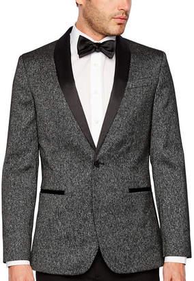 Jf J.Ferrar Formal Stretch Charcoal Sparkle Slim Fit Sport Coat