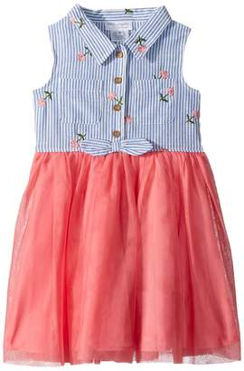 Us Angels Striped and Mesh Dress Girl's Dress