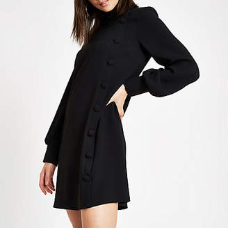 River Island Black button front swing dress