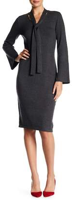 Max Studio Neck Tie Fitted Knit Dress