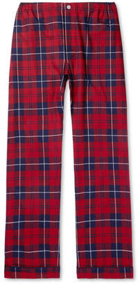 Sleepy Jones Marcel Piped Checked Cotton-Flannel Pyjama Trousers
