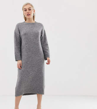 Asos DESIGN Petite knitted midi dress in fluffy yarn