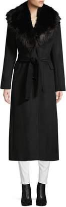 Calvin Klein Faux Fur Collar Wrap Coat