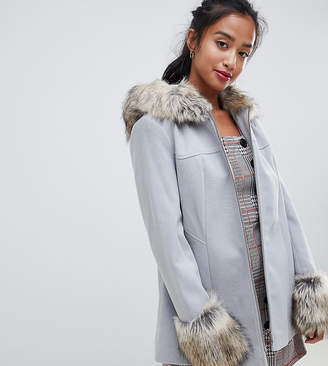 Miss Selfridge petite fur trim swing coat in pale grey