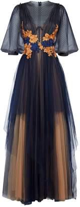 Costarellos Illusion Floral Applique Gown