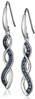 Swarovski Sterling Silver Montana Twisted Dangle Earrings Made with Crystal