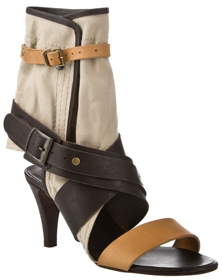 CHLOÉ - Multi-strap cuffed leather mid-sandal
