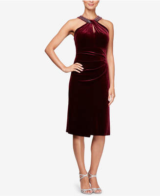 Alex Evenings Velvet Embellished Shift Dress