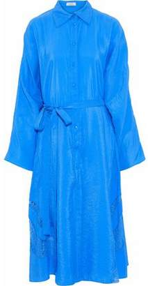 Nina Ricci Lace-Trimmed Crinkled Taffeta Midi Shirtdress