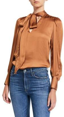 7 For All Mankind Tie-Neck Satin Long-Sleeve Top