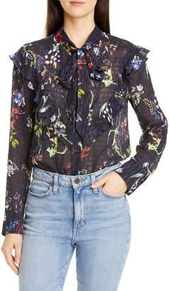 Tanya Taylor Layla Sheer Silk & Cotton Blouse