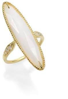 Ila Lorena White Agate, Diamond& 14K Yellow Gold Long Oval Ring