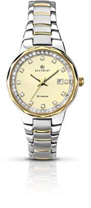 Accurist Connoisseurs Women's Quartz Watch with Beige Dial Analogue Display and Two Tone Stainless Steel Gold Plated Bracelet 8016.01
