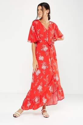 Cotton On Woven Dallas Cape Sleeve Maxi Dress