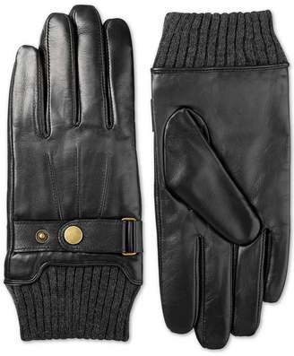 Isotoner Men Leather Snap-Cuff Driving Gloves