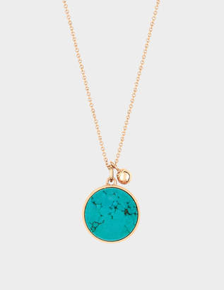 ginette_ny Ever Turquoise Disc 18-karat rose gold necklace