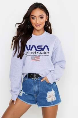 boohoo Petite NASA Licensed Sweat Top
