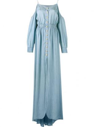 Balmain off-shoulder long dress $1,700 thestylecure.com