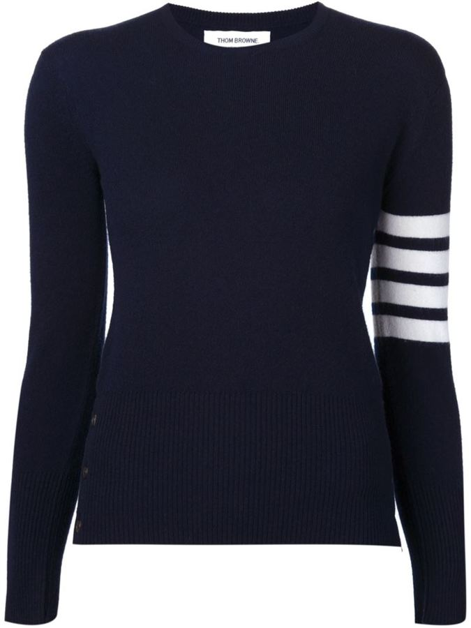 Thom Browne Crewneck Pullover With White 4-Bar Stripe In Navy Cashmere