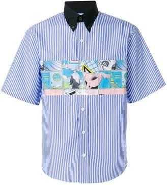 Prada contrasting collar striped shirt