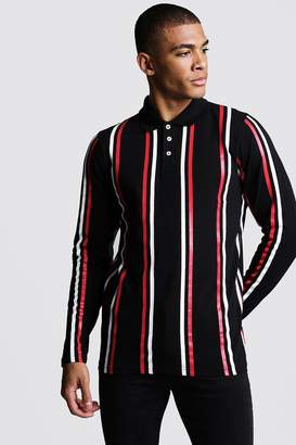boohoo Long Sleeve Vertical Stripe Polo