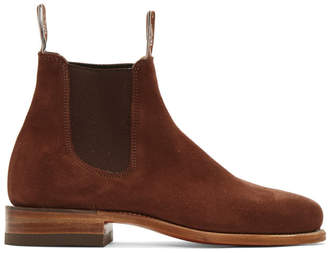 R.M. Williams Brown Suede Classic Turnout Chelsea Boots