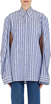 Balenciaga Women's Convertible-Sleeve Striped Cotton Shirt $795 thestylecure.com