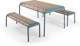 Mead Garden Outdoor Bench Set, Graphite Blue