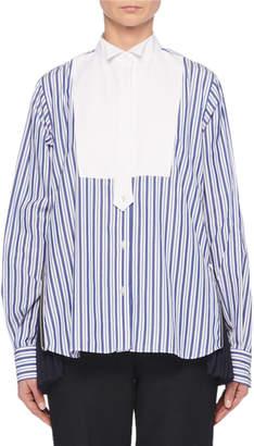 Sacai Long-Sleeve Button-Front Bib Striped Shirt