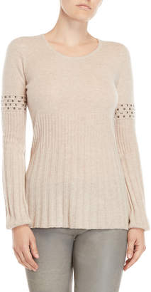 Qi Studded Scoop Neck Sweater