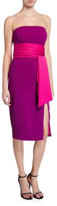 Jay Godfrey Strapless High Slit Stretch Crepe Dress with Removable Belt