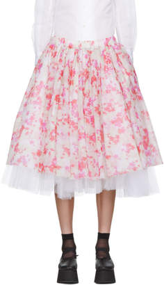 Comme des Garcons White and Red Layered Flower Skirt