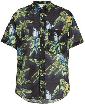Stella McCartney Ron Parrot-print cotton and linen-blend shirt