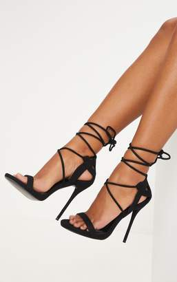 24a90eb0d64 at PrettyLittleThing · PrettyLittleThing Serenna Black Lace Up Sandals