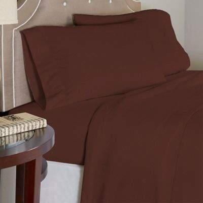 Bed Bath & Beyond Pointehaven 175 GSM Solid Flannel Twin Sheet Set in Chestnut