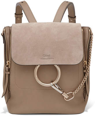 Chloé - Faye Small Textured-leather And Suede Backpack - Gray $1,850 thestylecure.com