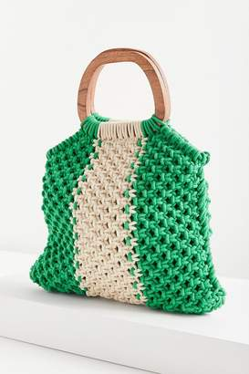 Urban Outfitters Wood Handle Stripe Macrame Tote Bag