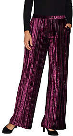 Halston H by Petite Crushed Velvet Wide LegKnit Pants