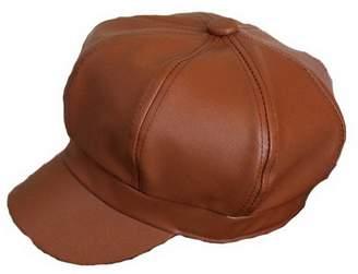 30b5950613f Brcus Women PU Leather Newsboy Cabbie Peaked Beret Cap Vintage Baker Boy  Visor Hat
