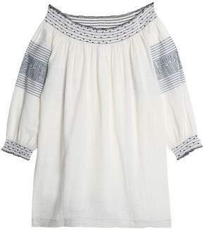 Velvet by Graham & Spencer Off-The-Shoulder Embellished Printed Cotton Top