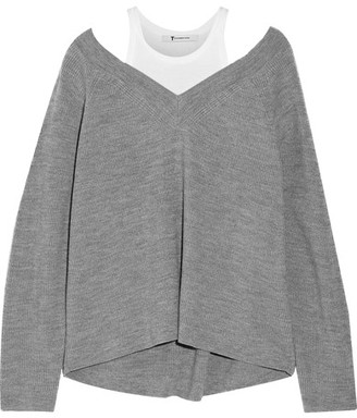 T by Alexander Wang - Layered Cotton-jersey And Merino Wool Sweater - Gray $275 thestylecure.com