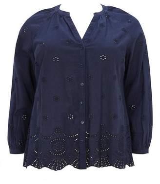 Evans Navy Blue Cutwork Shirt