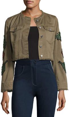 3c441473f6 Cinq à Sept Halina Crop Denim Jacket W  Logo Patches