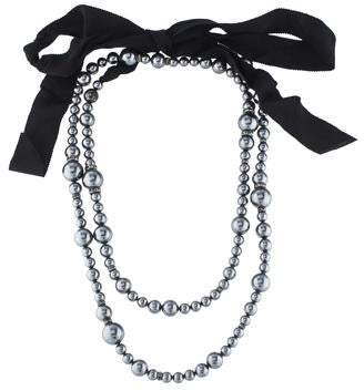 Lanvin Faux Pearl & Crystal Strand Necklace