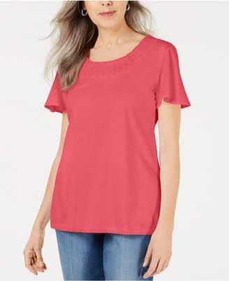 Karen Scott Braided-Neck T-Shirt